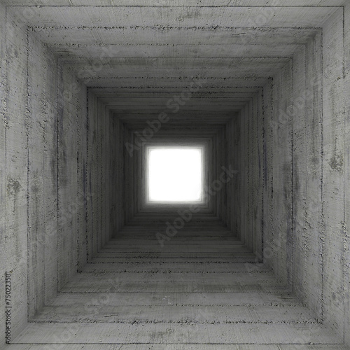 square concrete tunnel