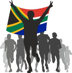 Winner with the South Africa flag at the finish