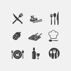 Vector restaurant food icon menu cuisine