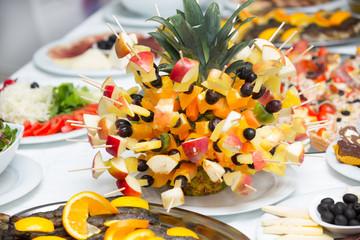 Healthy fresh fruits on a stick