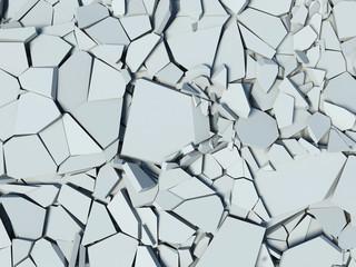 destruction of a concrete wall. debris