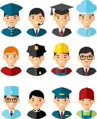 Occupation avatars in colorful style