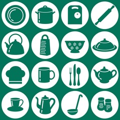 Set of kitchen utensils icons in flat style with shadows
