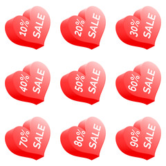 Set Of Nine Vector Sale Price Signs - Red Heart