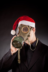santa claus with gas mask