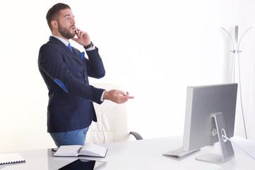 businessman talking to mobile