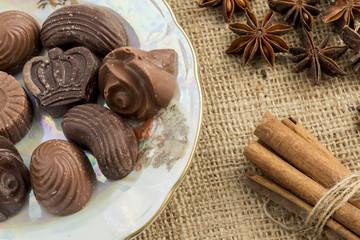 Homemade chocolate pralines