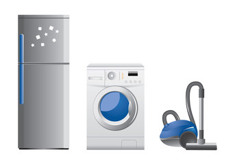 Vector set of home appliance icons on white background