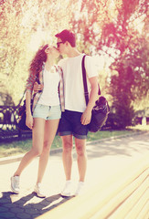 Love, fashion and people concept - summer stylish pretty young c
