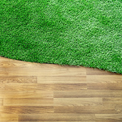 wooden texture with green grass floor