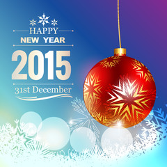 happy new year text with xmas ball and snowflakes