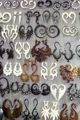 Display of tribal earrings for sale