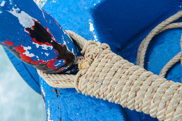 Mooring rope in a ship