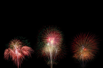 beautiful fireworks blooming with colorful on dark night sky wit