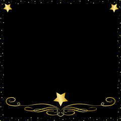 A Black  Elegant Background With Gold Stars and Trim