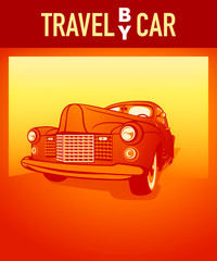 Travel by car orange retro poster