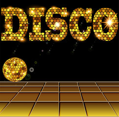 background with golden disco ball and letters