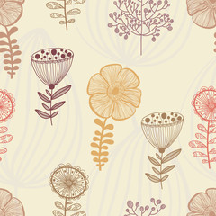 Seamless patern with abstract flowers nature