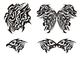 Tribal butterfly tattoo and eagle head