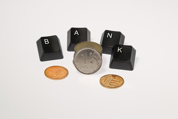 Bank and russian coin