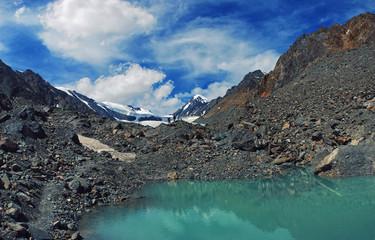 Aktru mountains and lake in Altai