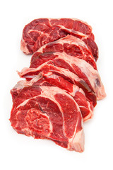 Shin of beef meat isolated on a white studio background,