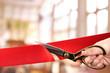 Leinwandbild Motiv Grand opening, cutting red ribbon