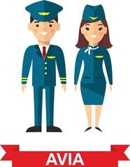 Set of people aviation, pilot and stewardess