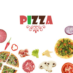 Tasty pizzas and ingredients with space for text isolated