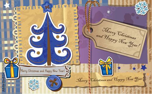 Scrapbook Christmas greeting card. - 75030189