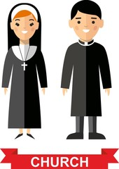 Set of a religious people, priest and nun