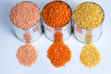three kinds of raw lentils