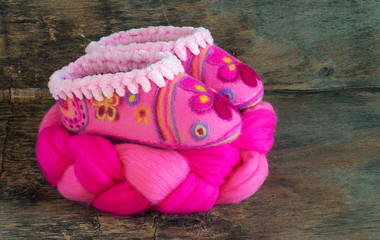 Pink  wool for felting and baby booties