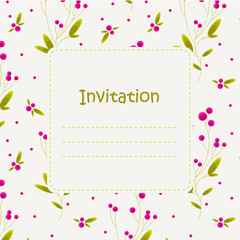 Invitation with stylized berries