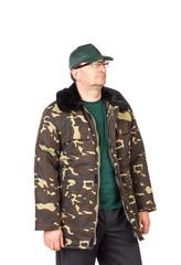 Worker in Camouflage winter jacket