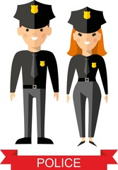 Set of vector  police peoples, policeman and  police woman