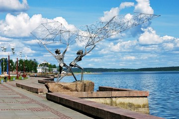 Fishers with the fishnet - the sculpture in Petrozavodsk, Russia