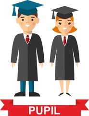 Illustration of graduates with background of education icons