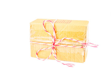parcel box tied with red and white rope