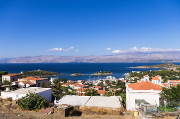 The historic village in Oinousses island, Greece