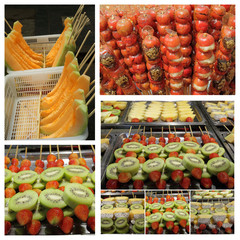 collage with various fruits stick snacks on Beijing streets
