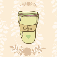 Coffe cup vector hand drawn illustration with flowers