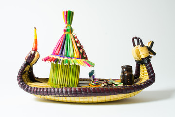 Peruvian boat model handicraft by people of the Uros islands