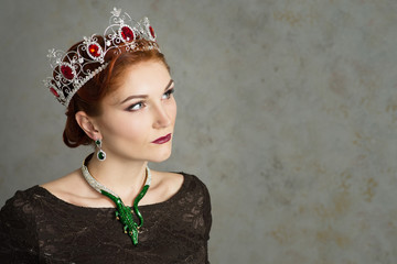Queen, royalty person. Elegant woman, portrait. Crown
