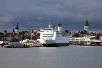 Ferry boat in the Tallinn's port and Tallinn Old Town, Estonia