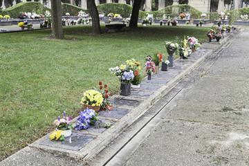 Graves with flowers