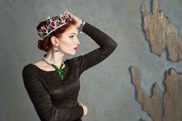 Queen, royalty person. Elegant woman, portrait. Crown