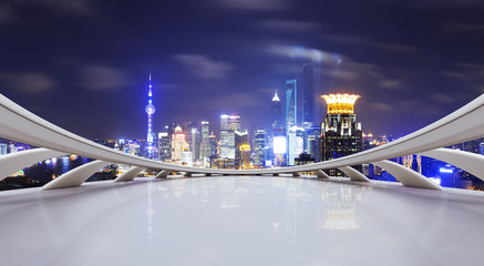 futuristic business perspective and cityscape at night