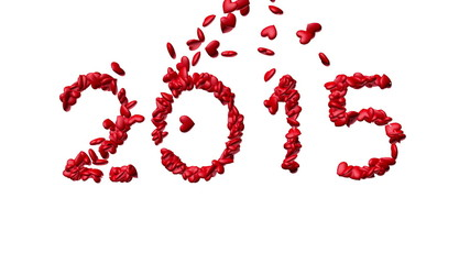 New year 2015 made from the hearts - white background