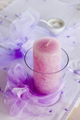 Beautifully Decorated Wedding Candle